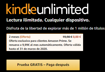 2 meses gratis de Amazon Kindle Unlimited