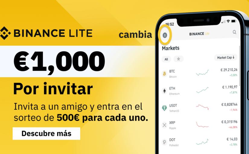 SORTEO DE 500 € POR REGISTRASARSE EN BINANCE
